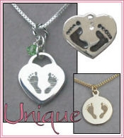 Baby-Infant Footprint Charms and Pendants for miscarriage, stillbirth, pregnancy loss, baby-infant death